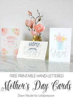 FREE Printable Hand-Lettered Mothers Day cards, the perfect Mother's Day gift idea! Free printable card, so cute! #mothersday #bydawnnicole