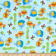 Fabric.Com $7.98 Zoo Mates Flannel Animal Allover Blue