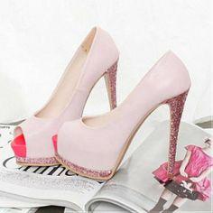 Women Peep Toe Pink High Heels Stilettos Pumps Platforms Court Prom Shoes US 6 5 Glitter High Heels, Pink High Heels, Pink Shoes, High Heels Stilettos, Womens High Heels, Pink Glitter, Pink Sparkles, Sparkly Heels, Studded Heels