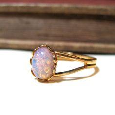 Vintage Pink Harlequin Opal Ring  WWII Era  by nitelilyglamour, $17.00