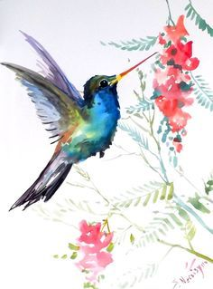 Hummingbird, original watercolor painting, 12 X 9 in, blue bird, hummingbird…