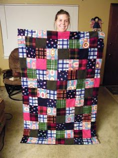 What to do with leftover fleece scraps...make a cute patchwork blanket.