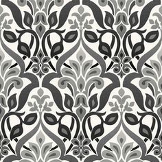 Brewster Wallcovering Simple Space 2 Black Non-Woven Damask Wallpaper