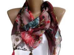 floral print cotton women scarf  colorful fashion by seno on Etsy, $19.00