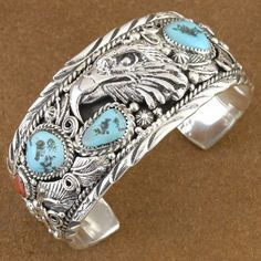 Hand Made Turquoise Sterling Silver Eagle Bracelet Signed by Peter Hackert $822.00 #Alltribes