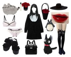 """Gothic otaku"" by shiki-sakurai ❤ liked on Polyvore featuring Lanvin, Pusheen, Ghibli, Mulberry, Hervé Gambs and Lulu Guinness"