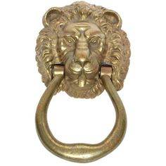 Lion Head Door Knocker ($615) ❤ liked on Polyvore featuring home, home decor, decorative hardware, door knockers, lion door knocker, solid brass door knocker, brass home decor, brass lion head door knocker and lion head door knocker