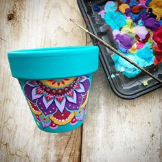 Festive and colorful Handpainted planter .Perfect for your succulents and indoor outdoor plants collections !This pot measures diameter . Its sealed inside and out to preserve the artwork . Painted Plant Pots, Painted Flower Pots, Painted Pebbles, Flower Pot Art, Pottery Painting Designs, Decorated Flower Pots, Terracotta Flower Pots, Mothers Day Crafts For Kids, Diy Planters