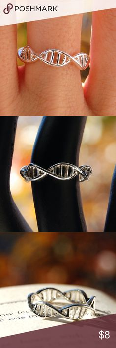 DNA helix ring molecule geek nerd biology science Gorgeous Minimalist Silver DNA Ring!  Beautiful, Simple and Elegant ring with double helix pattern.  Now you can carry the key to all life and human existence around your finger!  Perfect gift for a scientist, biologist, chemist, geneticist or just a fellow geek/nerd that loves unique jewelry! Jewelry Rings