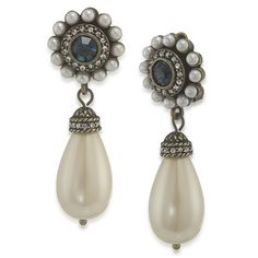 Illusions of India Pearl Double Drop Clip On Earrings