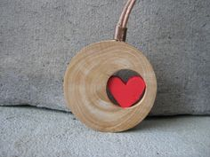 Valentine necklace, red heart necklace, wooden necklace, handmade jewelry, valentines gift by Stelakastela on Etsy