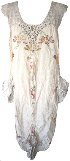 Magnolia Pearl: Antique linen embroidered Ms. Hana Apron