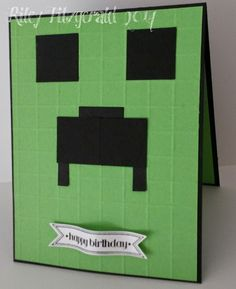 Minecraft Birthday by dancerriley - Cards and Paper Crafts at Splitcoaststampers Minecraft Cards, Minecraft Birthday Card, Birthday Cards For Boys, Handmade Birthday Cards, Boy Birthday, Lego Minecraft, Boy Cards, Kids Cards, Scrapbook Cards