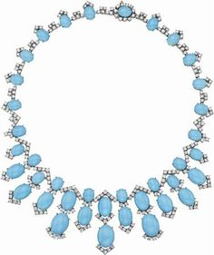A Turquoise and Diamond Necklace.