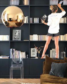 Summer At home / Love is all ✔ Bookshelf Design, Bookshelves, Bookcase, Office Shelving, Grey Lounge, Home Reno, Home Office Design, Home Living Room, Built Ins