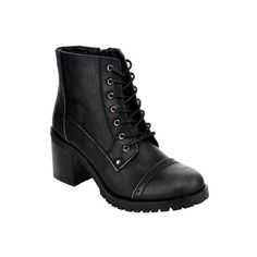 Refresh AE62 Women's Lace Up Inner Zipper Chunky Heel Military Combat... (120 BRL) ❤ liked on Polyvore featuring shoes, boots, zipper combat boots, zip boots, laced boots, military style boots and army boots