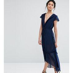 True Decadence Ruffle Sleeve Midi Dress ($58) ❤ liked on Polyvore featuring dresses, navy, chiffon midi dress, navy blue midi dress, skater dress, midi cocktail dress and navy cocktail dress