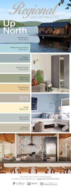 Paint Colors Inspired by a Coastal Haven, Up North Vacation | This color collection is inspired by the nautical colors found along the Northeast coastal region. The beiges, light blues and greys of this palette bring the hues of lake and shore landscape into your home design. Great as neutrals, these hues allow the opportunity to incorporate other colors from your travels, to brighten up your space.