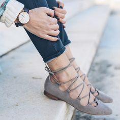 Soft gray lace-up flats