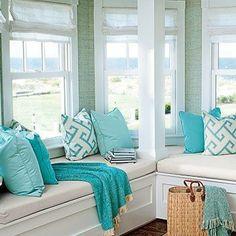 Turquoise Sunbrella Fabrics in Coastal Living Coastal Living, Coastal Decor, Azul Tiffany, Tiffany Blue, Beach House Decor, Home Decor, Beach Cottages, My New Room, Home Fashion