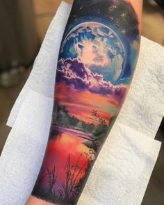 Giant Moon Tattoo Landscape - All About Sunset Tattoos, Nature Tattoos, Body Art Tattoos, Back Tattoo, I Tattoo, Moon Tatto, Galaxy Tattoo Sleeve, Astronomy Tattoo, Landscape Tattoo