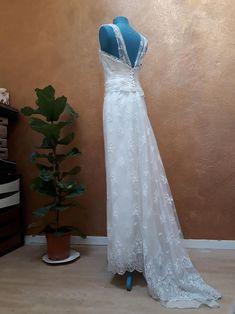 Vintage wedding dress Lace wedding dress wide strap dress   Etsy Polka Dot Wedding Dress, Striped Wedding, Wedding Dress Sleeves, Wedding Dresses, Embroidery Dress, Wedding Day, Lace Wedding, Lace Back, Silk Dress