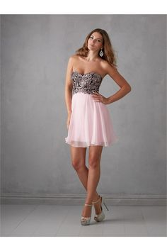 A Line Strapless Short Black And Pink Chiffon Beaded  Party Prom Dress
