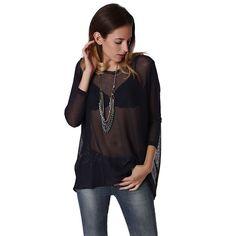 Dark Gray Open Knit Sweater