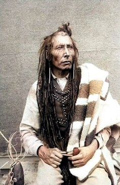 Cree Chief Poundmaker, also known as The Drummer. 1885. Photo by Oliver Buell.