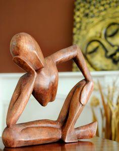 Fairtrade Dark Wooden Statue - Pondering - 30 Cm | Fair Trade Gift Store | Siiren