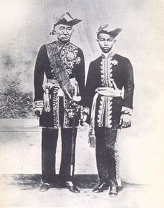 King Monghut of Siam and his son, Prince Chulalongkorn