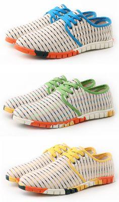 24d94ca4e55017 Men Striped Color Blocking Linen Breathable Flat Sport Casual Shoes