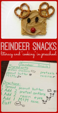 Easy reindeer snack that kids can make themselves! Links to other reindeer-themed Christmas snacks for kids to try. Use a shared reading \recipe\ to link in literacy. #PLAYfulpreschool
