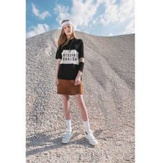 W.W. 'Scott polo, INTL Tannin', 'Carol skirt, Brown suede' and 'Bo shoe, White' from our Autumn / Winter 2015 'Internationalism' collection featured in @visualmagazine #woodwood #WWINTL #WWAW015 @w00dw00d