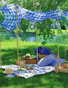 Al fresco blue gingham picnic from Veranda October 2008 Picnic Time, Summer Picnic, Garden Picnic, Picnic Parties, Picnic Spot, Family Picnic, Beach Picnic, Spring Summer, Outdoor Dining