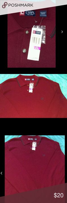 Ralph Lauren Chaps Men's size XXL 2X Sweater sold Ralph Lauren Chaps Men's size XXL 2X Sweater new with tags maroon and Navy🎉final markdown no other markdowns unless you bundle☃bundle two or more for 20% off and reduced shipping Chaps Sweaters