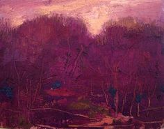 Notice how Gury scratches through the paint in his oil painting Autumn Glow, reinforcing the shape and outline of the tree limbs.