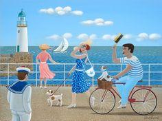 Jean-Pierre Lorand- Dimensões: 30x40 cm; Descrição: Acrílico sobre madeira Seaside Art, Beach Art, Illustrations, Illustration Art, Paris Art, Naive Art, Art Themes, Retro Art, Summer Art