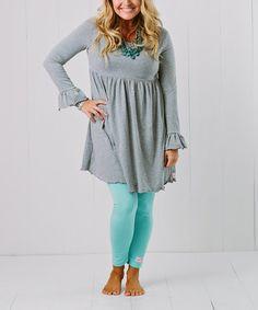 Heather Gray Dress & Robin's Egg Blue Leggings - Women & Plus #zulily #zulilyfinds