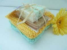 Set 2 cotton washcloths hand made soap and by SusansWorkbasket, $17.00