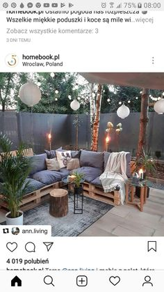 Pin by Magda on Ogrodnictwo in 2019 Outdoor Rooms, Outdoor Living, Outdoor Furniture Sets, Diy Patio, Backyard Patio, Garden Shed Interiors, Apartment Balcony Decorating, Terrace Garden, Outdoor Settings
