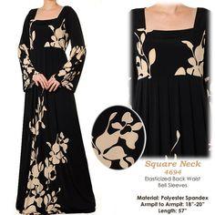 Black Square Neck Abaya Muslim Islamic Long Sleeves by MissMode21, $34.00