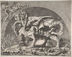 Louis Jean Desprez (French, 1743–1804). The Chimera (La Chimère de Monsieur Desprez), ca. 1777–84. The Metropolitan Museum of Art, New York. Purchase, 1998 (1998.248) | Born on the burning sands of Africa, Desprez's mythical beast has three heads: one a bird and two with the features of the devil. The skeletal monster devours its human prey amid the bones of its previous victims framed by the dark semicircle of an archway, the pale semicircle of the moon visible beyond.