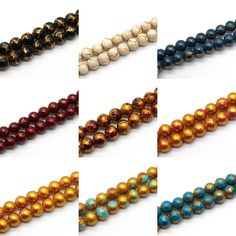 8mm Marbleized Opaque Glass Beads - Gold Crackle & Fancy Spot Styles