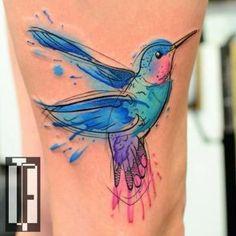48 Greatest Hummingbird Tattoos of All Time, Tattoo, Watercolor Hummingbird Tattoo Design by Hami Iffy-Né️️gyökrű. Trendy Tattoos, Tattoos For Guys, Tattoos For Women, Colorful Tattoos, Tattoo Avant Bras, Watercolour Tattoos, Watercolor Hummingbird, Colorful Hummingbird Tattoo, Watercolor Mandala
