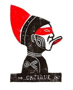 """Xilogravura """"Cacique 88"""". Woodcut. 2015"""