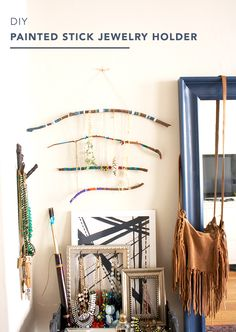 DIY Painted Stick Jewelry Holder
