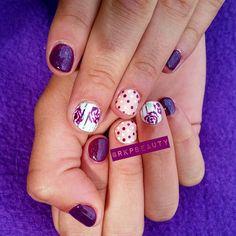 Plum, nude & white nails.  Silver striping tape, polka dot and plum rose gel polish nail art.