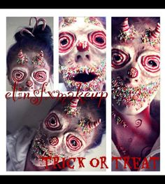Fx makeup, Halloween, candy, evil clown, special effects, makeup, horns, prosthetics