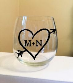 Heart with Initials Stemless Wine Glass by thiscrazylifeDESIGNS on Etsy